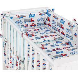 dwustronna rozbieralna pościel 3-el auta z rowerami / turkus do łóżeczka 60x120cm marki Mamo-tato