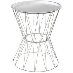 Okrągły stolik kawowy na metalowych nogach, stolik do kawy, stolik do salonu, stolik do pokoju, biały stolik, stolik metalowy (3560234477636)
