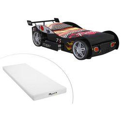 Łóżko w kształcie samochodu runner z szufladą - 90x200 cm - kolor czarny + materac stelo kids 90x200 marki Vente-unique