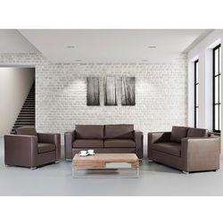 Skórzana sofa brazowa rozmiar XXL 2 sofy + 1 fotel HELSINKI - produkt dostępny w Beliani