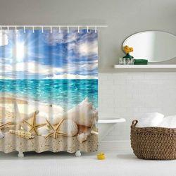Sea Starfish Shell Printed Waterproof Shower Curtain