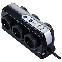 Masterplug Przedłużacz 6 x 16 a 3 x 1,5 mm2 usb 2 m czarny (5015056586410)