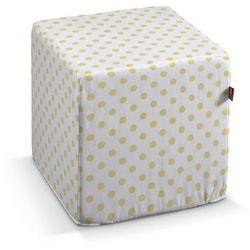 Dekoria Pufa kostka twarda, żółte kropki na białym tle, 40 × 40 × 40 cm, Ashley, kolor biały