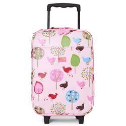 Penny Scallan Design, walizka na kółkach i nóżkach, miętowo-różowa w ananasy