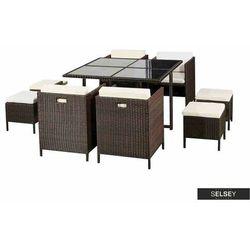 SELSEY Zestaw mebli ogrodowych Levan stół z czterema krzesłami i pufami ciemny brąz