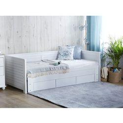 Łóżko wysuwane drewniane białe ze stelażem 90 x 200 cm CAHOR