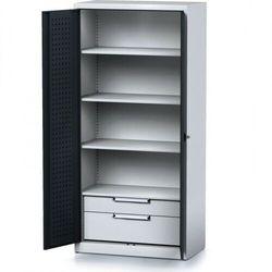 Szafa warsztatowa mechanic, 1950 x 920 x 500 mm, 3 półki, 2 szuflady, antracytowe drzwi marki B2b partner