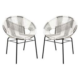 Zestaw 2 foteli ogrodowych kelios – dwukolorowe, włókno technorattanowe – kolor szaro-biały marki Vente-unique