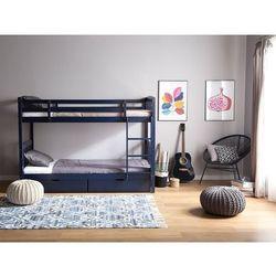 Łóżko piętrowe drewniane granatowe 90 x 200 cm REVIN