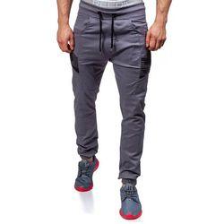 Grafitowe spodnie joggery męskie Denley 0706 - GRAFITOWY