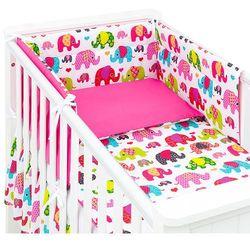 Mamo-tato 3-el dwustronna pościel dla niemowląt słoniaki różowe / ciemny róż do łóżeczka 60x120cm