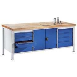Rau Stół warsztatowy, stabilny,8 szuflad w rozmiarze l, 1 szafka na narzędzia
