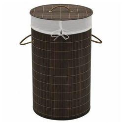 Okrągły bambusowy kosz na pranie Lavandi 2X - ciemnobrązowy, vidaxl_242724