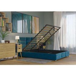 Big meble Łóżko 160x200 tapicerowane bergamo + pojemnik + materac welur lazurowe