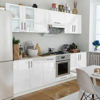 Vidaxl  meble kuchenne białe na wysoki połysk 8 elementów (8718475910138)