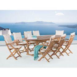Meble ogrodowe - stół rozkładany + 8 krzeseł + beżowe poduszki - JAVA (7081457936749)