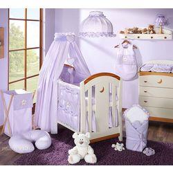 Mamo-tato pościel 15-el miś z serduszkiem w fiolecie do łóżeczka 70x140cm - tkanina