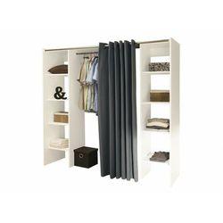 Vente-unique Garderoba z możliwością rozbudowywania emeric - l.112/185 cm - biały i antracytowy -