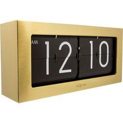 Zegar stołowy Big Flip Nextime złoty, kolor żółty