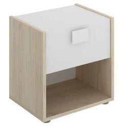 Stolik nocny SONIA - 1 szuflada i 1 wnęka - Kolor: dębowy i biały
