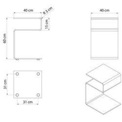 Stolik szklany LIVELLO - szkło transparentne, S-043 (7812580)