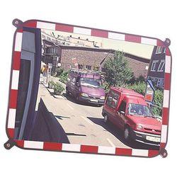 Lustro drogowe ze szkła sekurit, bez ramy, z krawędzią odblaskową w kolorze biał