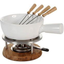 Zestaw do fondue serowego 1 litr, dębowa podstawa, ceramiczne naczynie (bo-340029) marki Boska