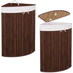 Kosz na pranie 73L narożny pojemnik z klapą bambus naturalny ciemny brąz (5907719409443)