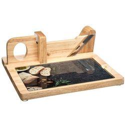 Deska kuchenna z krajalnicą, drewno, brązowy, akcesorium kuchenne, szklana płyta, krojenie wędlin, serów, serwowanie posiłków