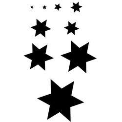 Szablon malarski z tworzywa, wielorazowy, wzór dla dzieci 80 - zestaw 9 gwiazdek różnej wielkości marki Szabloneria