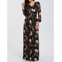 Belted Floral Printed Boho Maxi Dress, 1 rozmiar