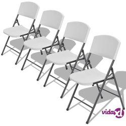 vidaXL Składane krzesła do ogrodu, 4 szt., HDPE, białe (8718475998976)
