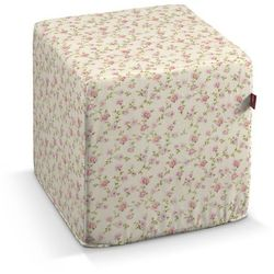 Dekoria Pufa kostka twarda, różowe różyczki na kremowym tle, 40x40x40 cm, Ashley