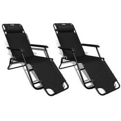 Regulowane, składane leżaki z podnóżkami, 2 szt., czarne