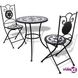 stolik i 2 krzesła z mozaiką czarno-białą marki Vidaxl