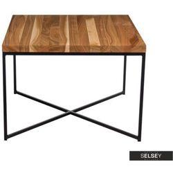 Selsey stolik kawowy taruni 100x100 cm blat czereśniowy slim na czarnej podstawie