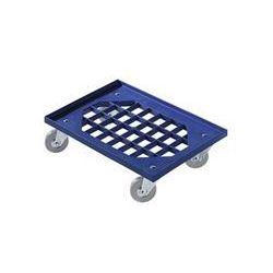 Wózek transportowy z tworzywa abs, kratowa pow. ładunkowa, kółka z ogumieniem pe marki Complastec roller system aps.