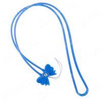 Długa gumowa smycz do telefonu na rękę szyję 45cm kokardka niebieska - niebieski, marki Hurtel