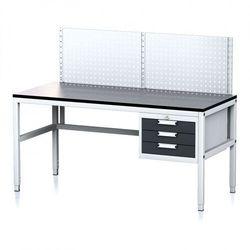 Stół warsztatowy MECHANIC II z panelem perforowanym, 1600 x 700 x 745-985 mm, 3 kontener szufladowy, szary/antracyt