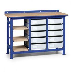 Stół warsztatowy z metalowymi szufladami