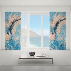 Zasłona okienna na wymiar - BLUE & PINK CLASSIC MARBLE