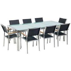 Stół szklany - do ogrodu - 220 cm - z 8 czarnymi krzesłami - GROSSETO