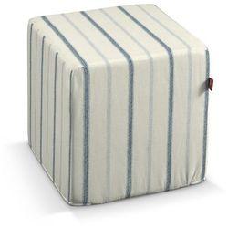 Dekoria  pufa kostka twarda, ecru tło, niebieskie paski, 40x40x40 cm, avinon
