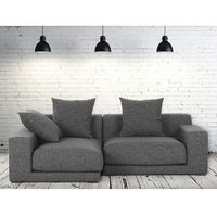 Sofa narożna p - tapicerowana - grafit - cloud marki Beliani