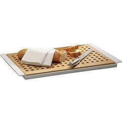 Aps Deska prostokątna drewniana do krojenia pieczywa | jasnobrązowa | 520x340x20mm