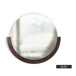 SELSEY Lustro Adalwolf z półkolistą ciemną drewnianą ramą średnica 80 cm (5903025535272)