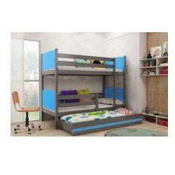 30 Łóżko piętrowe tomi 3-osobowe z materacami 90x200