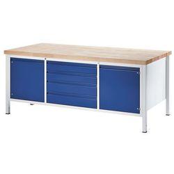Rau Stół warsztatowy, stabilny,4 szuflady w rozmiarze xl, 2 drzwi