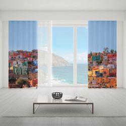 Zasłona okienna na wymiar komplet - COLOURFUL HOUSES