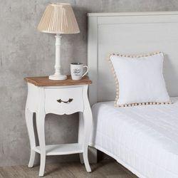 stolik nocny louis white&natural, 45 × 30 × 65 cm marki Dekoria